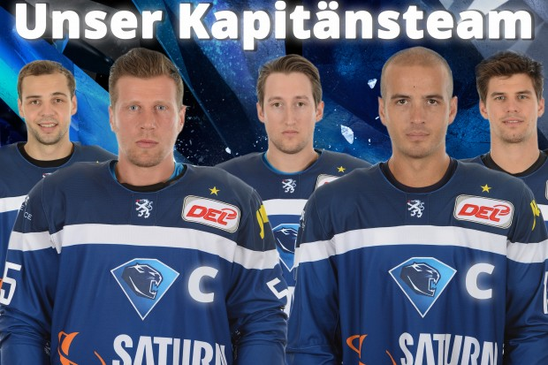 In front (from left to right): The captains Patrick Köppchen and John Laliberte. In the back the assistant captains Thomas Oppenheimer, Brandon Buck and Benedikt Kohl.