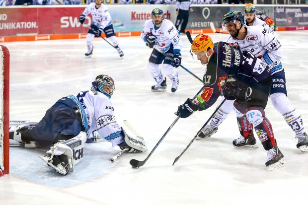Timo Pielmeier with a spectecular save against Bremerhaven. Foto: Sven Peter